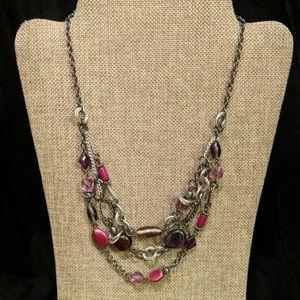 Multi strand gem necklace
